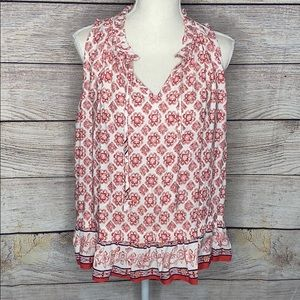 Collective Concepts Red White Patterned Tank